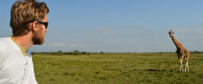 Projects Abroad volunteer collects Giraffe data on the Kenya Conservation Project